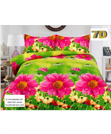 Green With Pink FloraL 7D Bedsheet SY-D-351