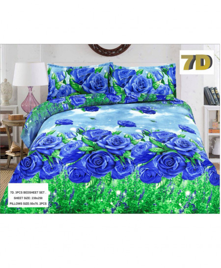 Blue Wth Green Floral 7D Bedsheet SY-D-353