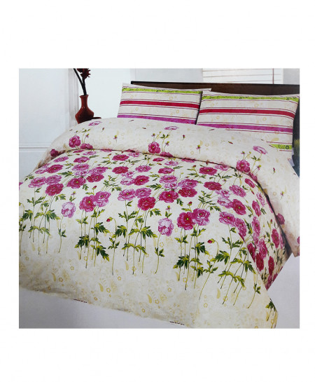 Off White With Red Floral Style Cotton Bedsheet SY-359
