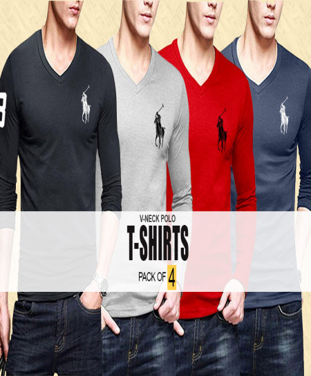 Pack Of 4 Polo V-Neck Full Sleeves T-Shirts GT-2358
