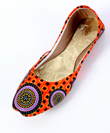 Orange Self Printed Stylish Ladies Khussa OM-5209