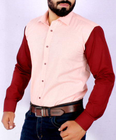 Pink With Maroon Contrast Stylish Casual Shirt FW-06