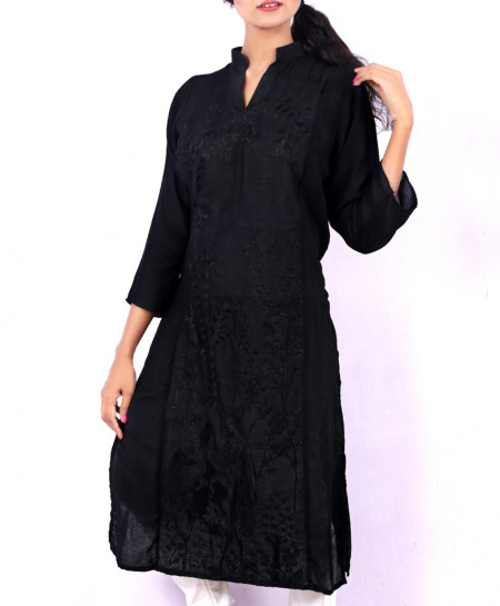 Black Chicken Embroidered Stylish Kurti KC-3291