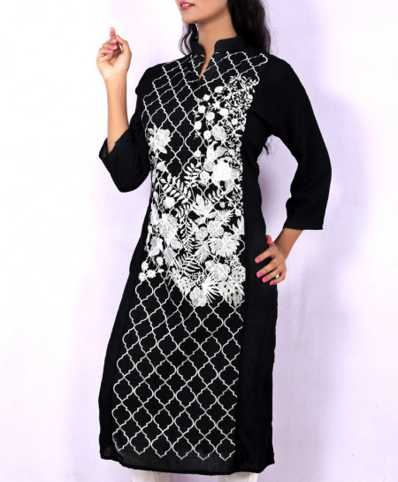Black White Chicken Embroidered Stylish Kurti KC-3292