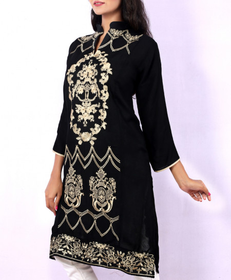 Black Golden Chicken Embroidered Stylish Kurti KC-3296