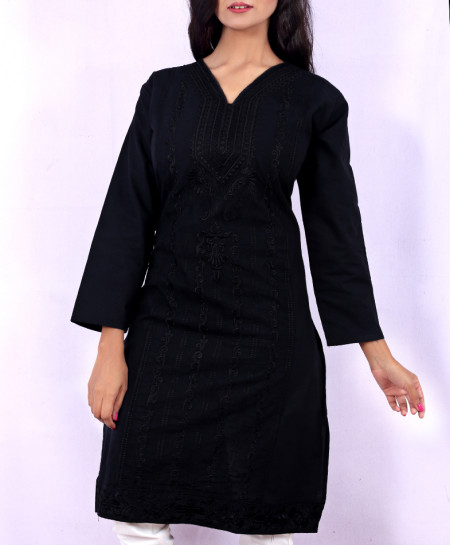 Black Chicken Embroidered Stylish Kurti KC-3297