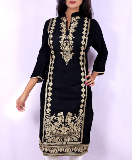 Black Gold Chicken Embroidered Stylish Kurti KC-3300