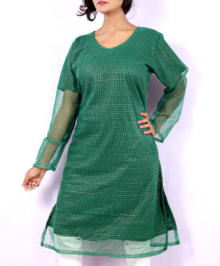 Green Fancy Net Georgette Ladies Kurti VRJ-2674