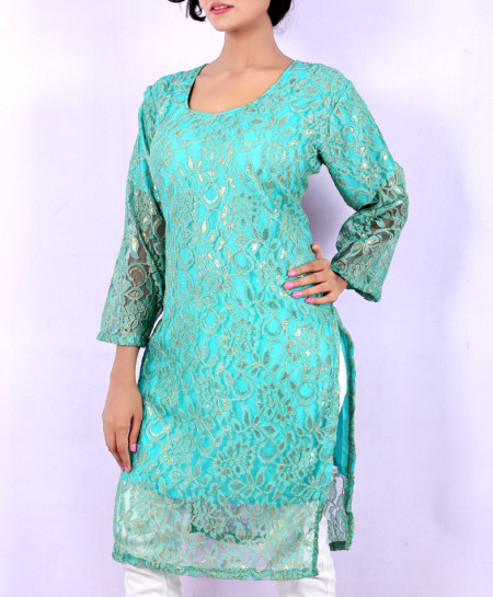 Aqua Blue Fancy Net Georgette Ladies Kurti VRJ-2678