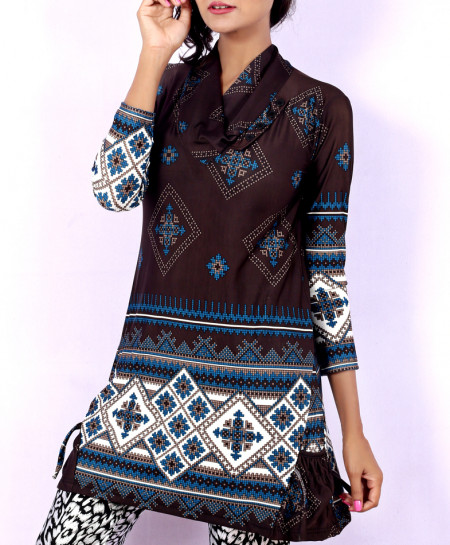 Choco Brown Printed Ladies Kurti With Trousers GT-1644