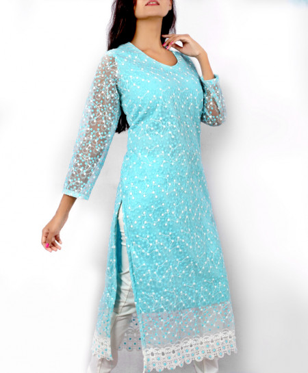 Aqua Blue Fancy Dotted Georgette Ladies Kurti VRJ-2680