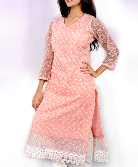 Peach Fancy Dotted Georgette Ladies Kurti VRJ-2681