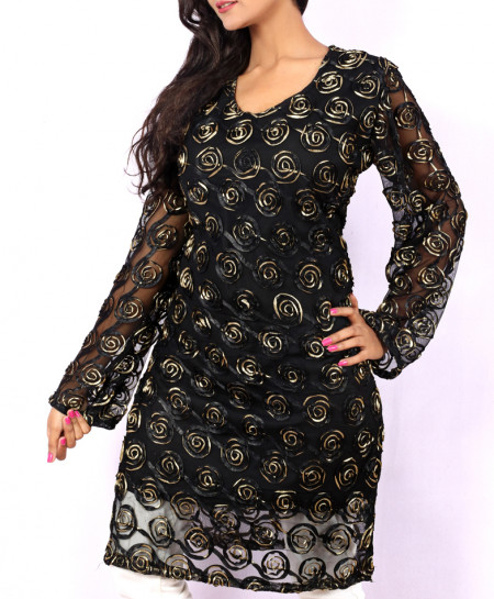 Gold Black Fancy Net Georgette Ladies Kurti VRJ-2682