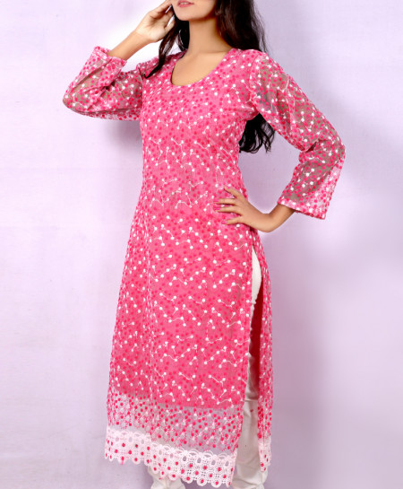 Pink Fancy Dotted Georgette Ladies Kurti VRJ-2683