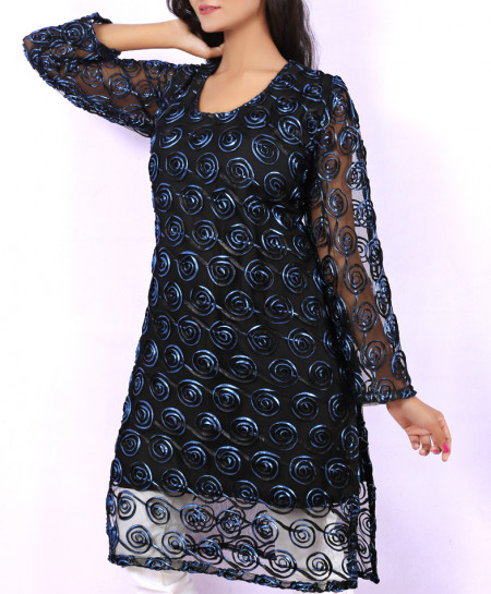 Sea Black Fancy Net Georgette Ladies Kurti VRJ-2684