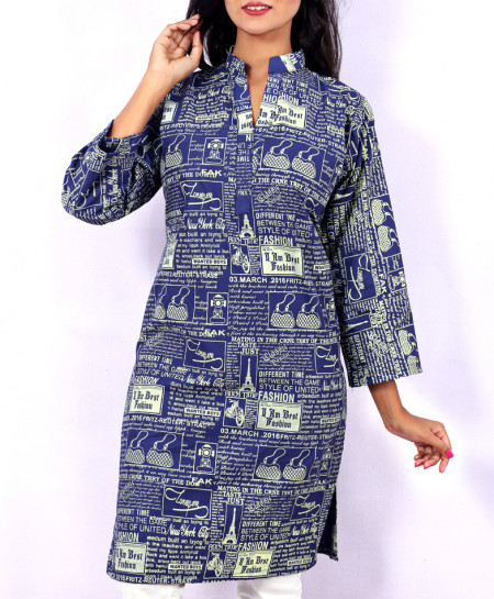 Royal Blue Newspaper Style Ladies Kurti VRJ-2688