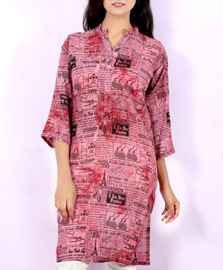 Faded Brick Newspaper Style Ladies Kurti VRJ-2692