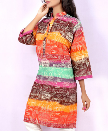 Rainbow Colored Newspaper Style Ladies Kurti VRJ-2693
