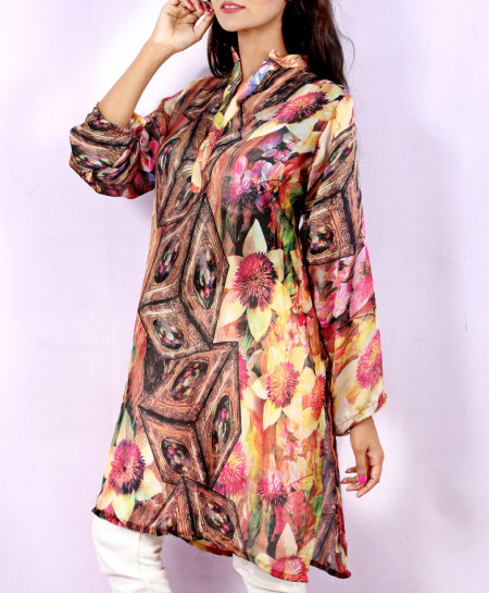 Fire Brick Digital Printed Style Ladies Kurti VRJ-2695
