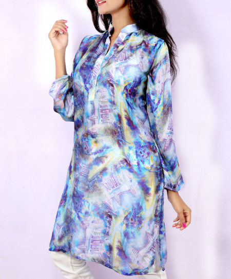 Light Slate Digital Printed Style Ladies Kurti VRJ-2697