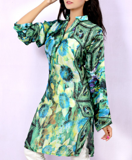 Dew Green Digital Printed Style Ladies Kurti VRJ-2698