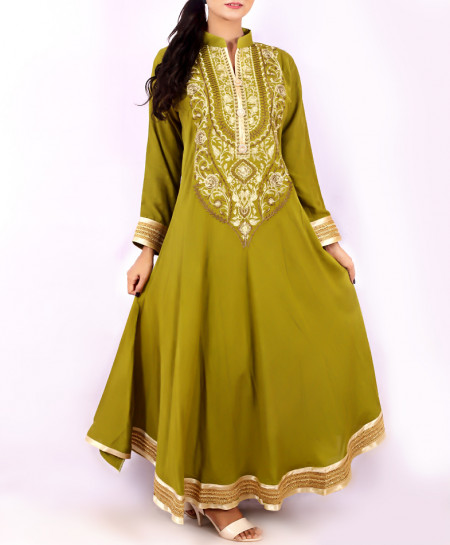 Olive Green Neck Embroidered Stylish Kurti KC-3301