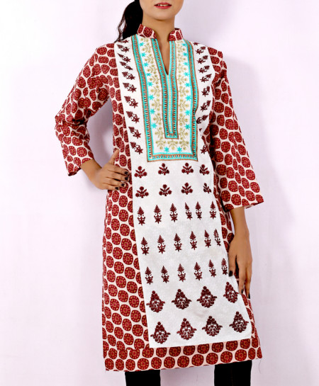 Maroon Whitish Front Embroidered Stylish Kurti KC-3304