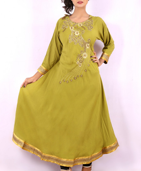 Olive Green Neck Embroidered Stylish Kurti KC-3297