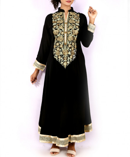 Black Front Embroidered Stylish Long Kurti KC-3299