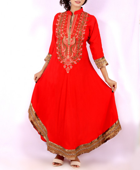 Red Front Embroidered Stylish Long Kurti KC-3300