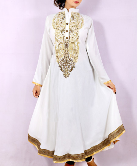 White Front Back Embroidered Stylish Long Kurti KC-3301