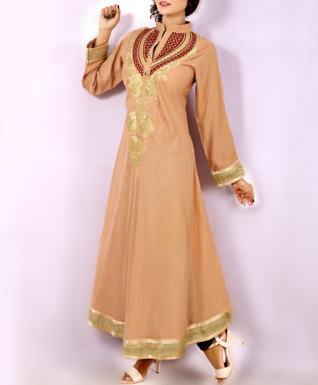 Brown Front Back Embroidered Stylish Long Kurti KC-3302