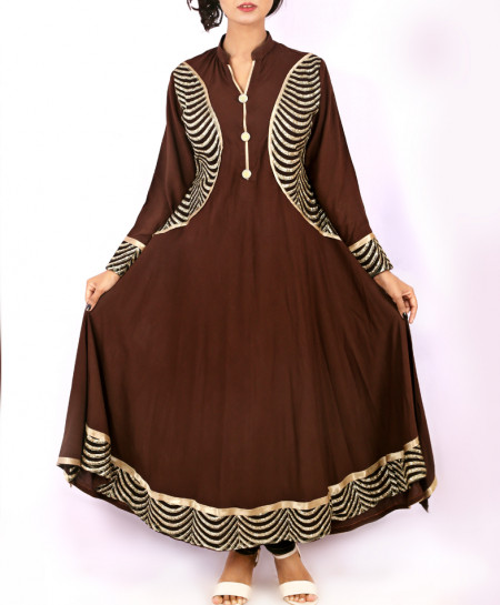 Choco Brown Aplic Work Stylish Long Kurti KC-3303
