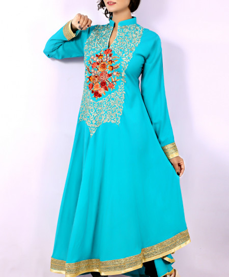 Sky Blue Front Embroidered Stylish Long Kurti KC-3304