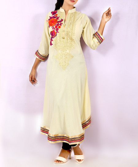 Off-White Front Embroidered Stylish Long Kurti KC-3307