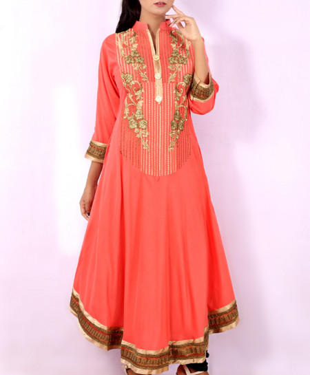 Pink Front Embroidered Stylish Long Kurti KC-3309