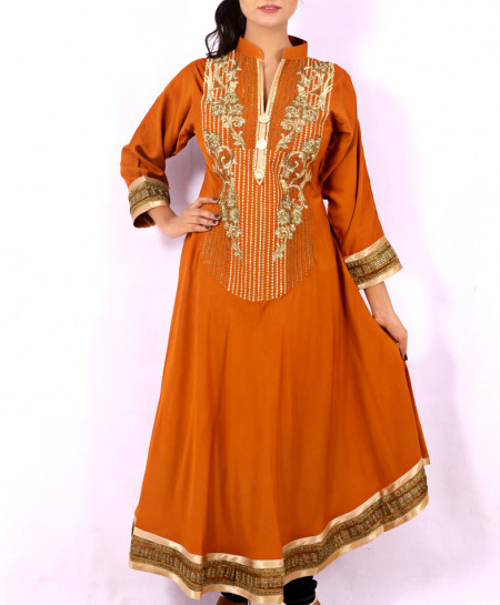 Brown Front Embroidered Stylish Long Kurti KC-3310