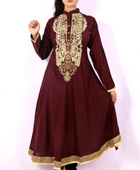 Aubergine Front Back Embroidered Stylish Kurti KC-3311