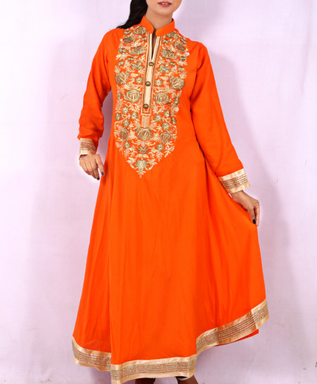 Orange Front Embroidered Stylish Kurti KC-3315