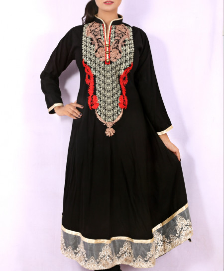Black Front Back Embroidered Stylish Kurti KC-3318