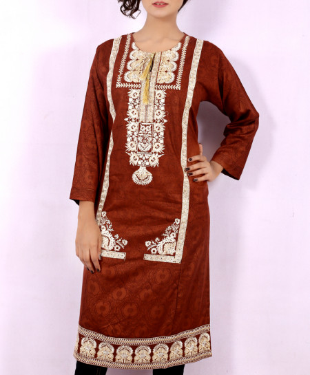Brown Printed Embroidered Stylish Kurti KC-3320