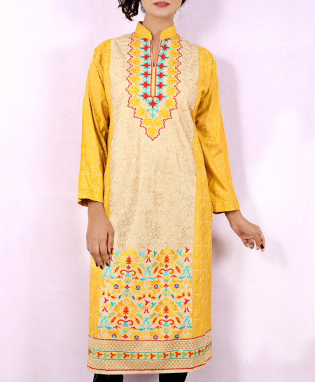Yellow Printed Embroidered Stylish Kurti KC-3321