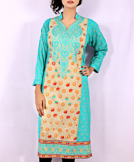 Blue Printed Embroidered Stylish Kurti KC-3322