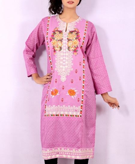 Soft Pink Printed Embroidered Stylish Kurti KC-3323