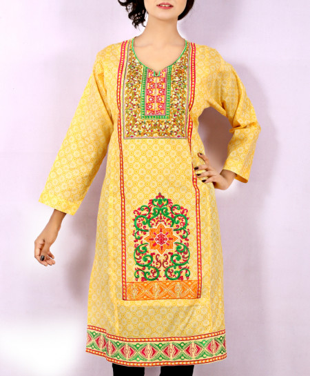 Yellow Printed Embroidered Stylish Kurti KC-3326