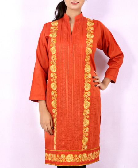 Orange Printed Embroidered Stylish Kurti KC-3333