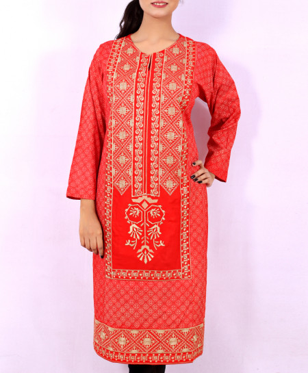Red Printed Embroidered Stylish Kurti KC-3334