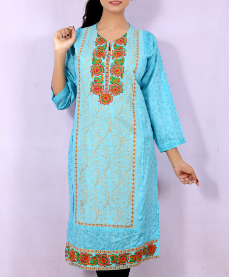 Sky Blue Printed Embroidered Stylish Kurti KC-3335