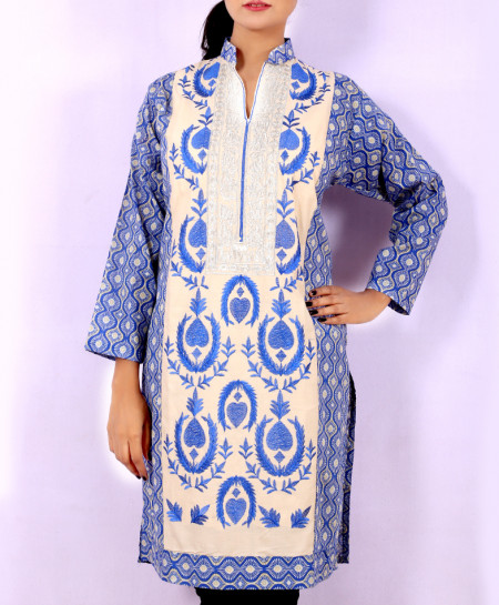 Dark Blue Printed Embroidered Stylish Kurti KC-3336