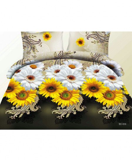 3D Dark Green Sunflowers Satin Cotton Bedsheet SD-0189